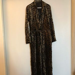 Nasty Gal  leopard velvet burnout jumpsuit SZ 2US